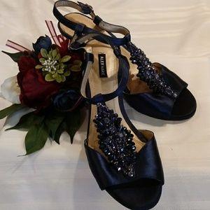 Satin Navy Blue Formal Strappy Heels